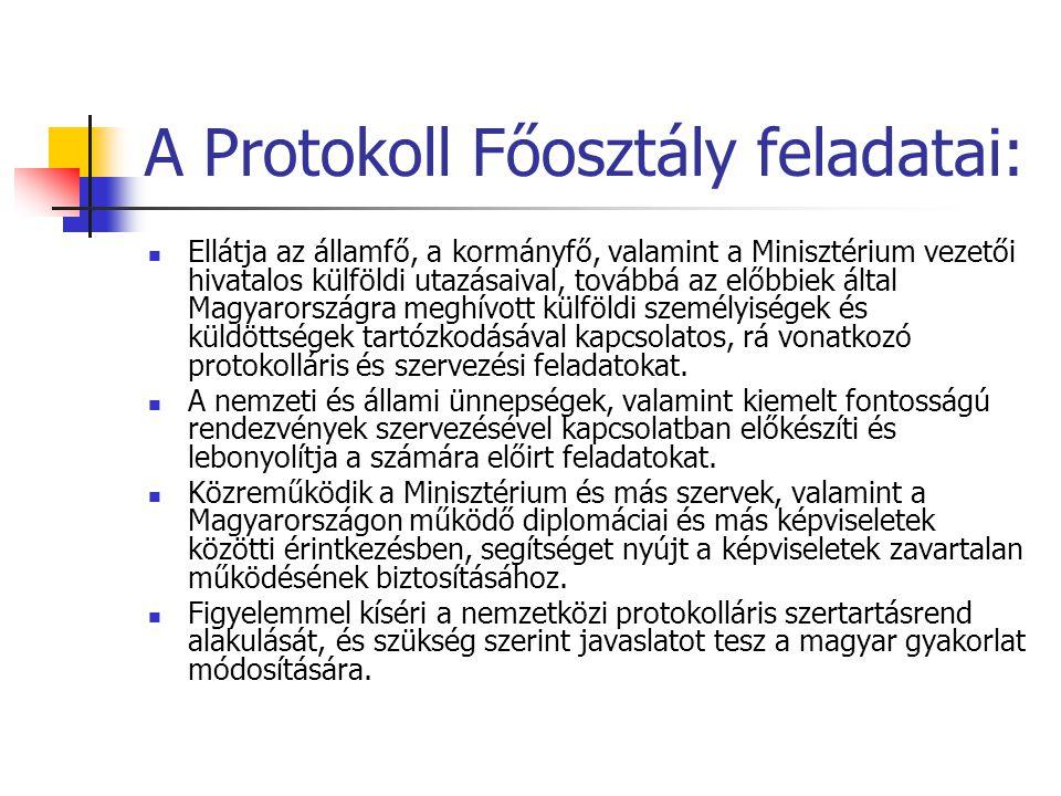A Protokoll Főosztály feladatai: