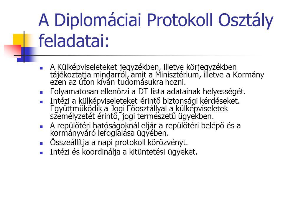 A Diplomáciai Protokoll Osztály feladatai: