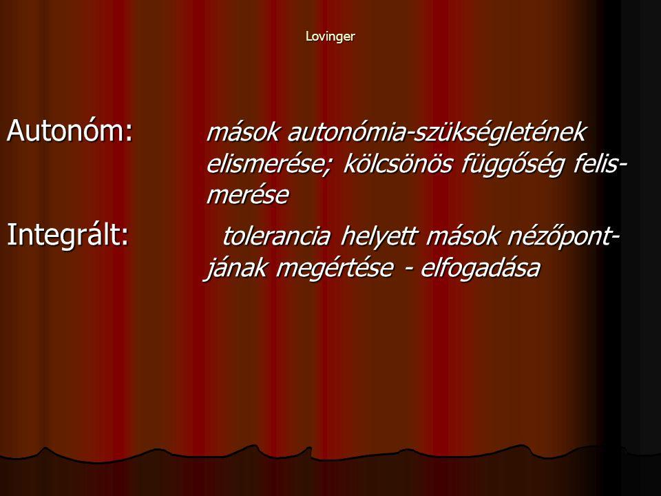Lovinger Autonóm: mások autonómia-szükségletének elismerése; kölcsönös függőség felis- merése.