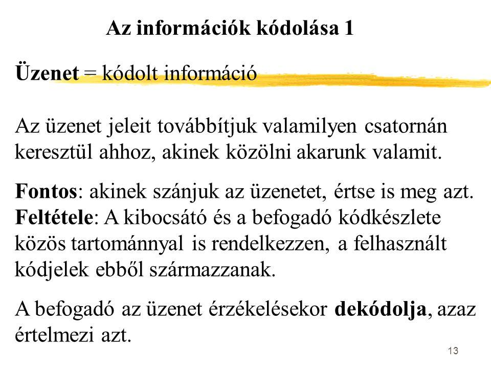 Az információk kódolása 1