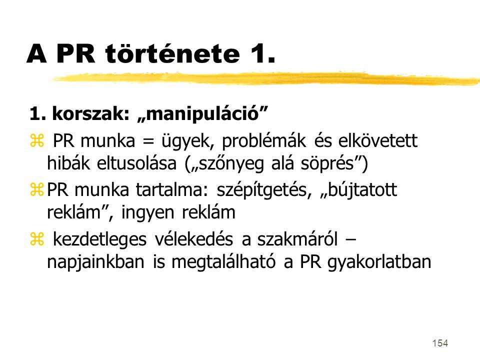 """A PR története 1. 1. korszak: """"manipuláció"""