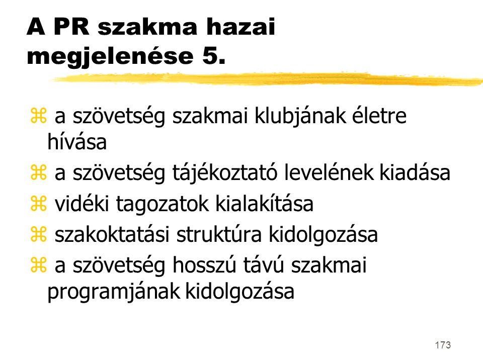 A PR szakma hazai megjelenése 5.