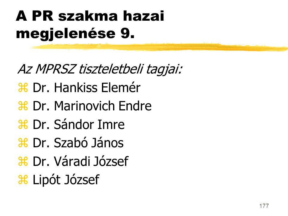 A PR szakma hazai megjelenése 9.