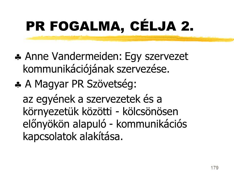 PR FOGALMA, CÉLJA 2.  Anne Vandermeiden: Egy szervezet kommunikációjának szervezése.  A Magyar PR Szövetség: