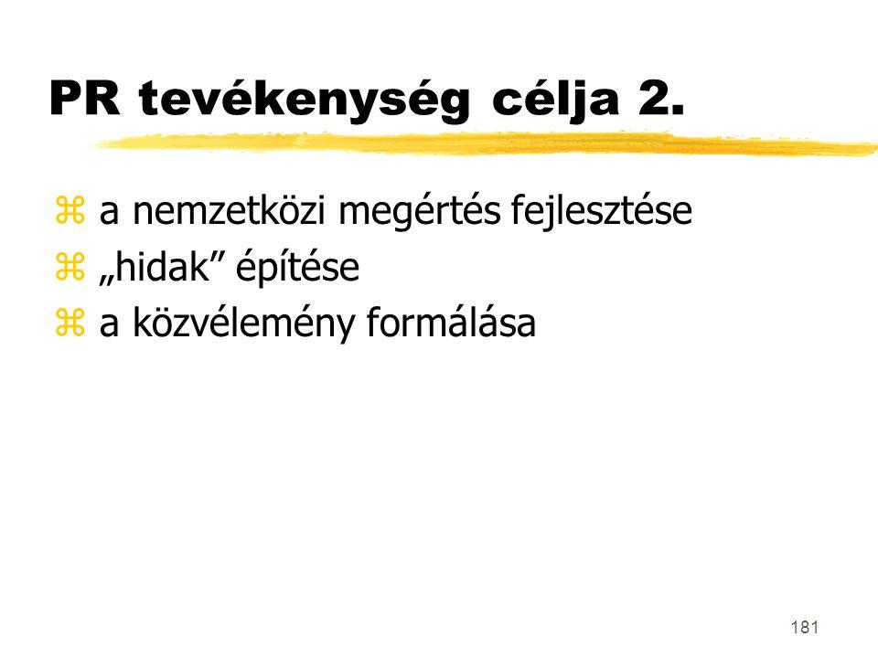 PR tevékenység célja 2. a nemzetközi megértés fejlesztése