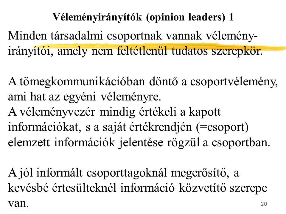 Véleményirányítók (opinion leaders) 1