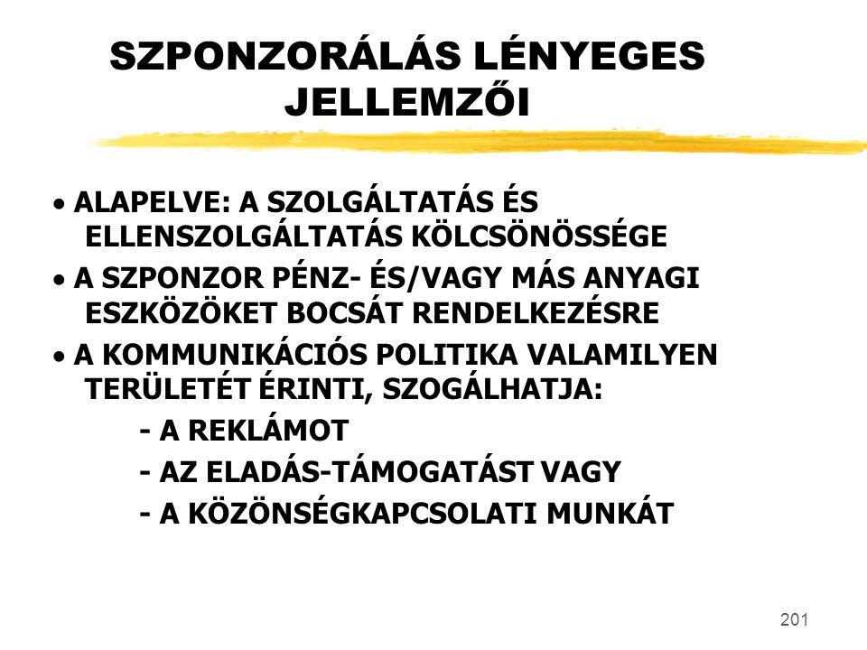 SZPONZORÁLÁS LÉNYEGES JELLEMZŐI