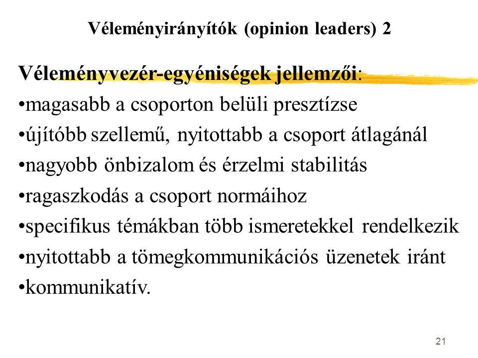 Véleményirányítók (opinion leaders) 2