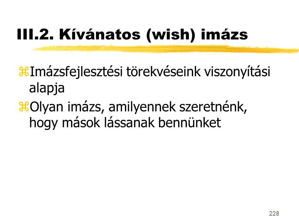 III.2. Kívánatos (wish) imázs