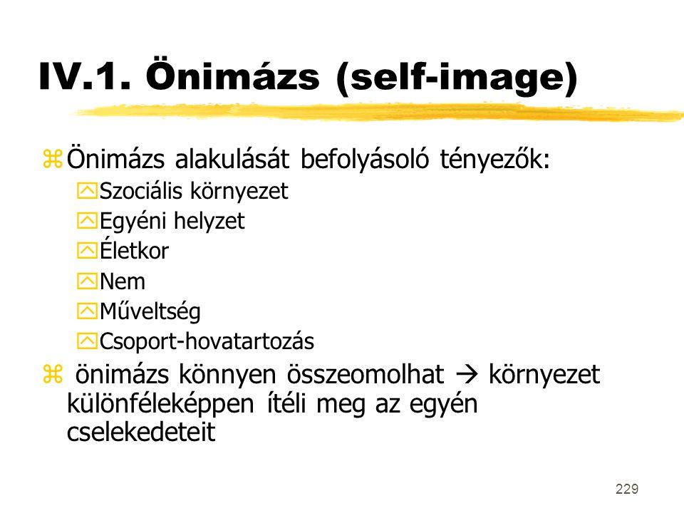 IV.1. Önimázs (self-image)