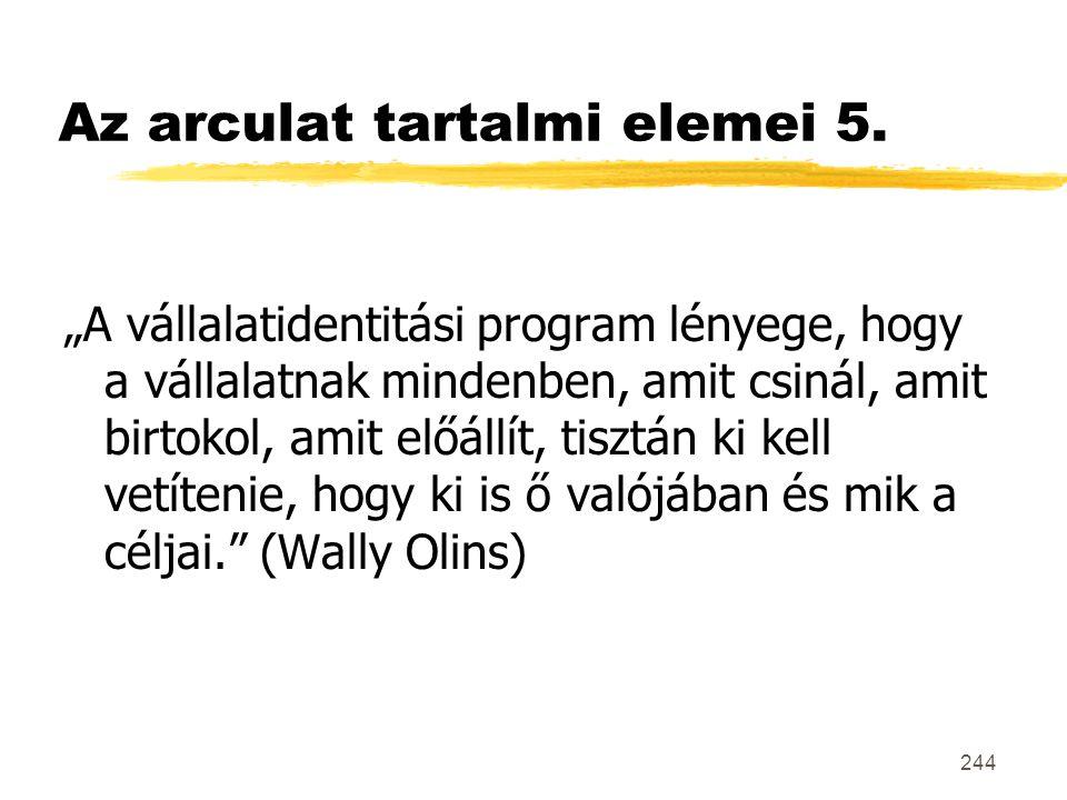 Az arculat tartalmi elemei 5.