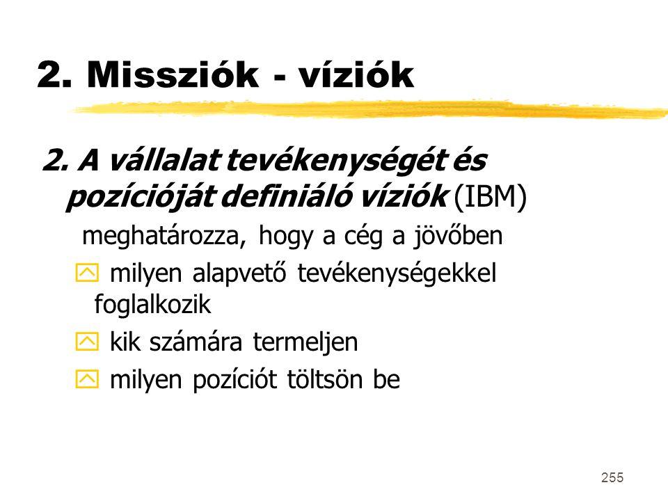 2. Missziók - víziók 2. A vállalat tevékenységét és pozícióját definiáló víziók (IBM) meghatározza, hogy a cég a jövőben.