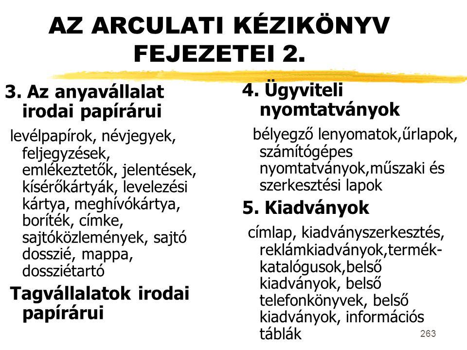 AZ ARCULATI KÉZIKÖNYV FEJEZETEI 2.