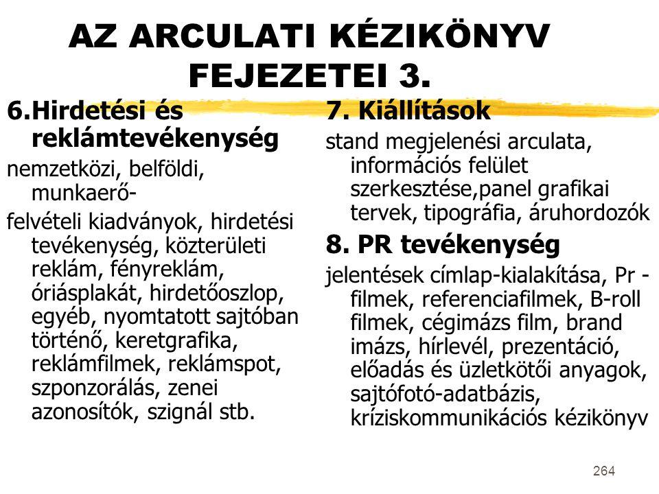 AZ ARCULATI KÉZIKÖNYV FEJEZETEI 3.