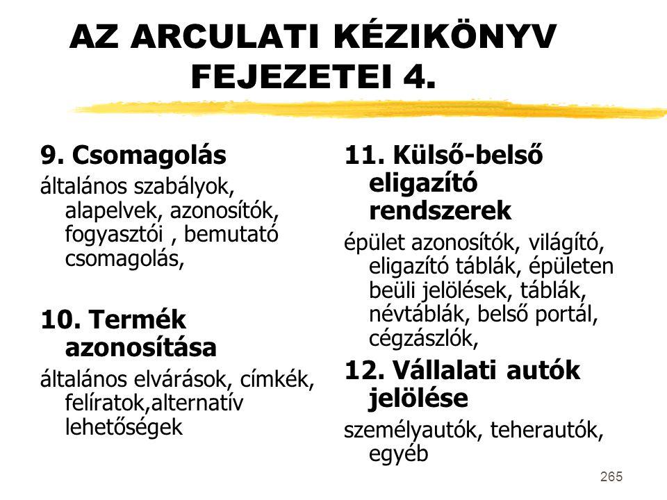 AZ ARCULATI KÉZIKÖNYV FEJEZETEI 4.