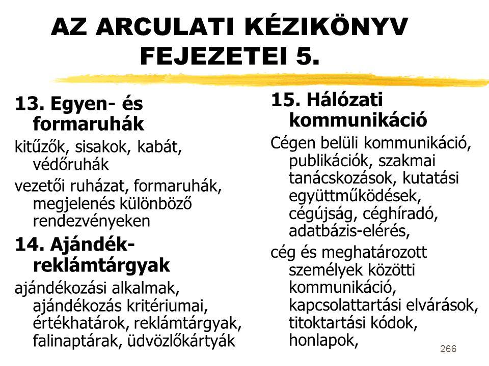 AZ ARCULATI KÉZIKÖNYV FEJEZETEI 5.