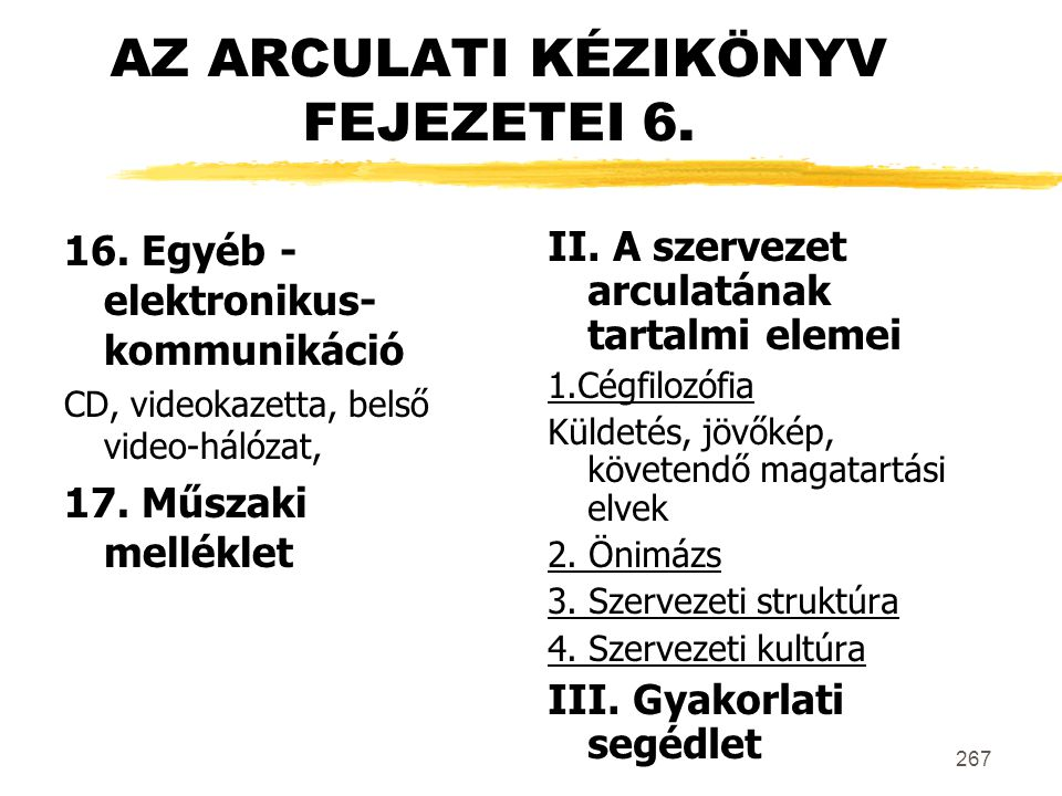 AZ ARCULATI KÉZIKÖNYV FEJEZETEI 6.