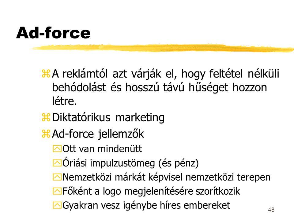 Ad-force A reklámtól azt várják el, hogy feltétel nélküli behódolást és hosszú távú hűséget hozzon létre.