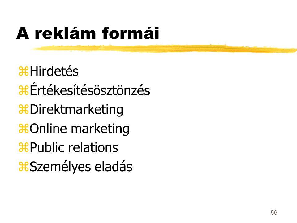 A reklám formái Hirdetés Értékesítésösztönzés Direktmarketing
