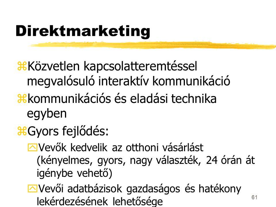 Direktmarketing Közvetlen kapcsolatteremtéssel megvalósuló interaktív kommunikáció. kommunikációs és eladási technika egyben.