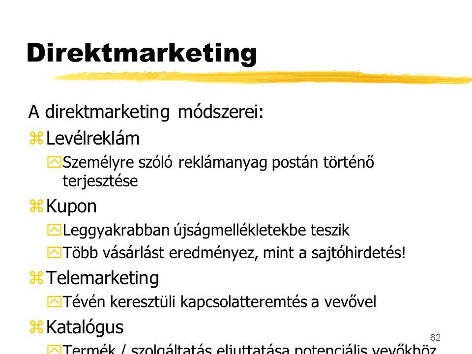 Direktmarketing A direktmarketing módszerei: Levélreklám Kupon