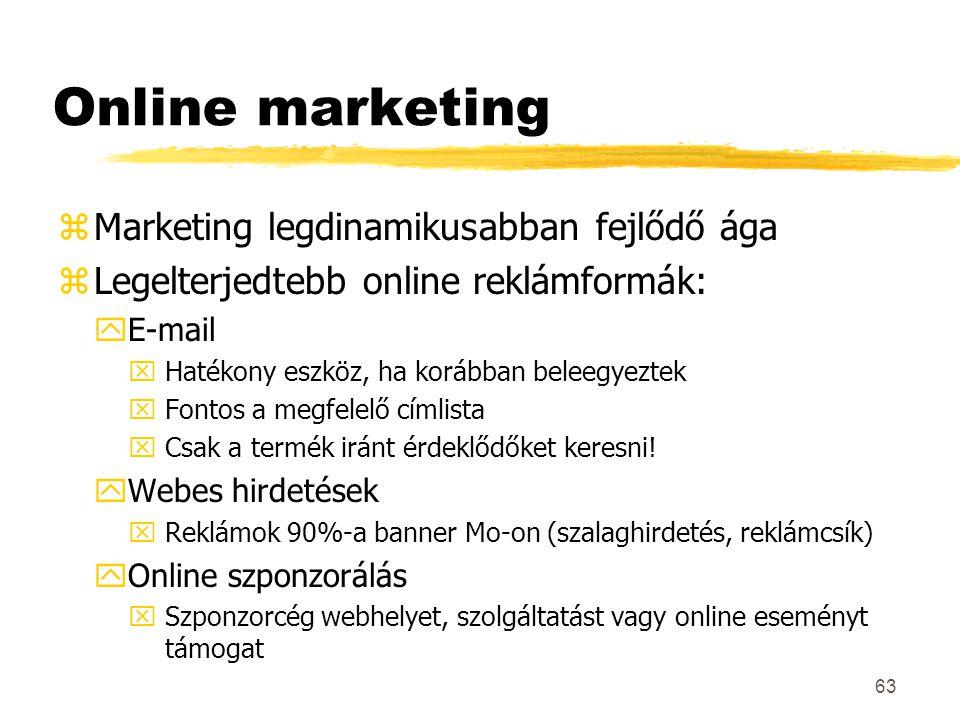 Online marketing Marketing legdinamikusabban fejlődő ága