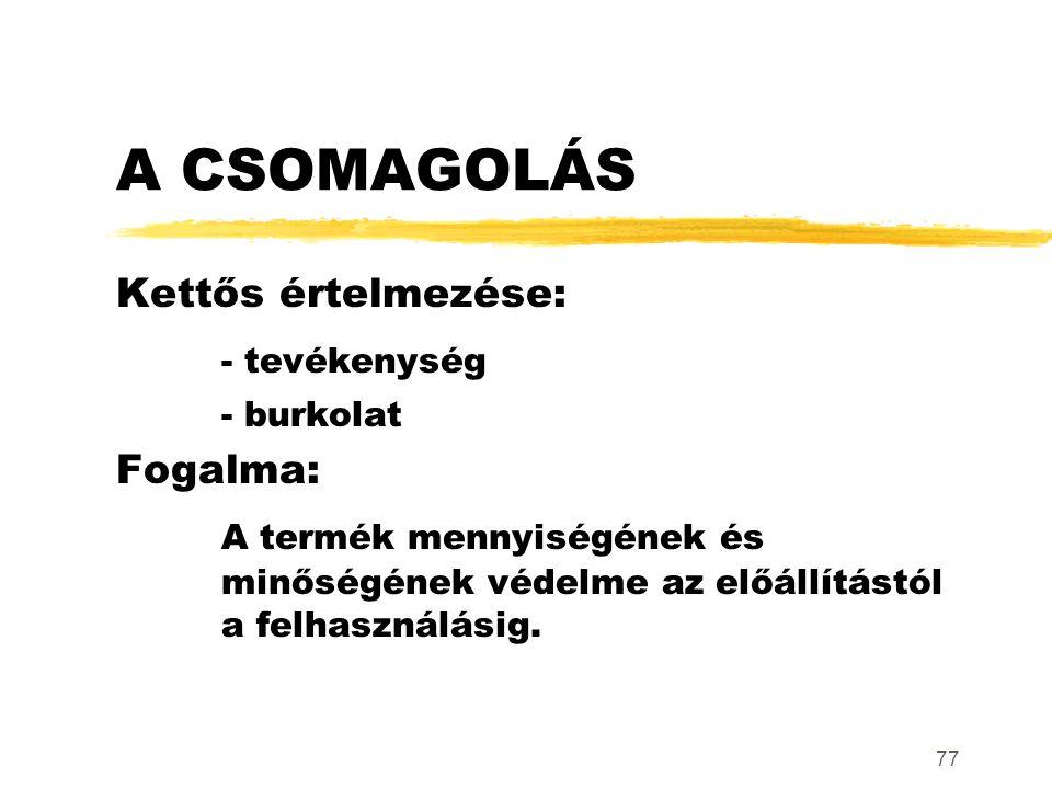 A CSOMAGOLÁS - tevékenység