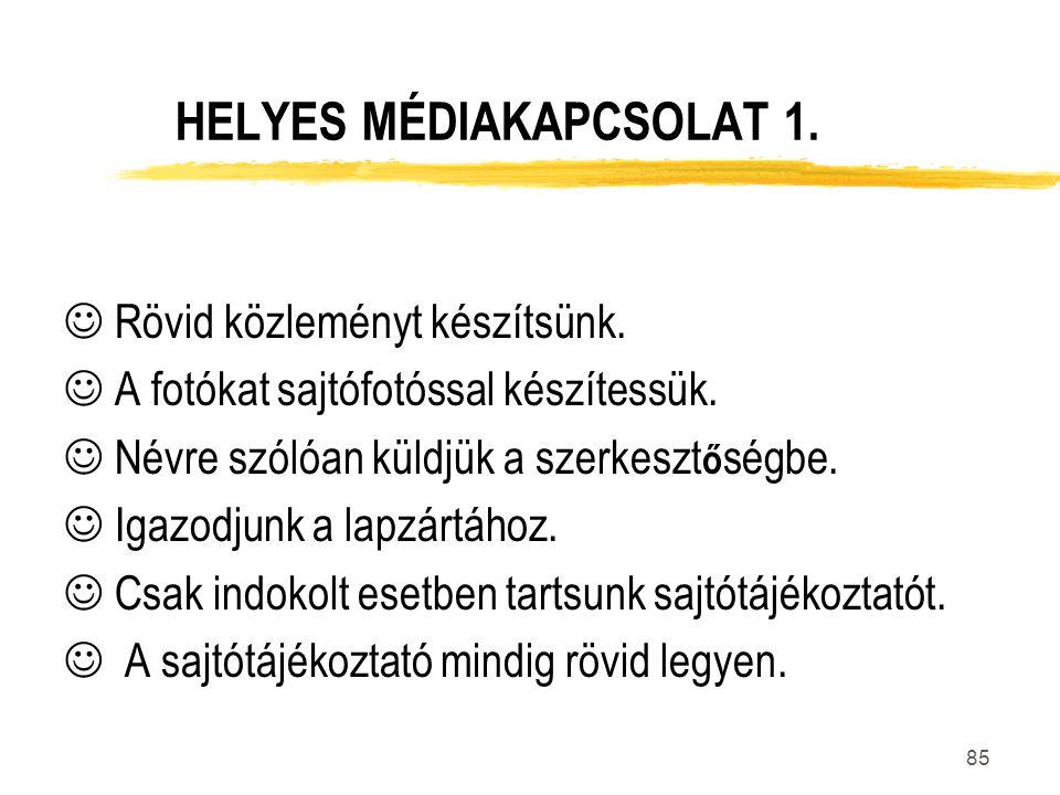 HELYES MÉDIAKAPCSOLAT 1.