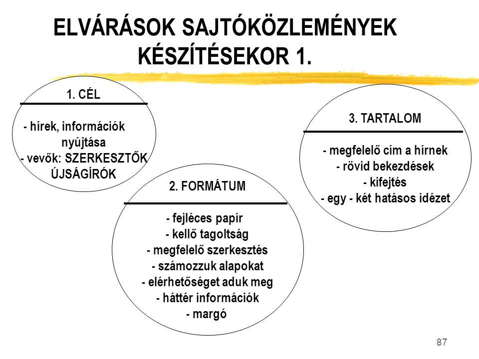 ELVÁRÁSOK SAJTÓKÖZLEMÉNYEK KÉSZÍTÉSEKOR 1.