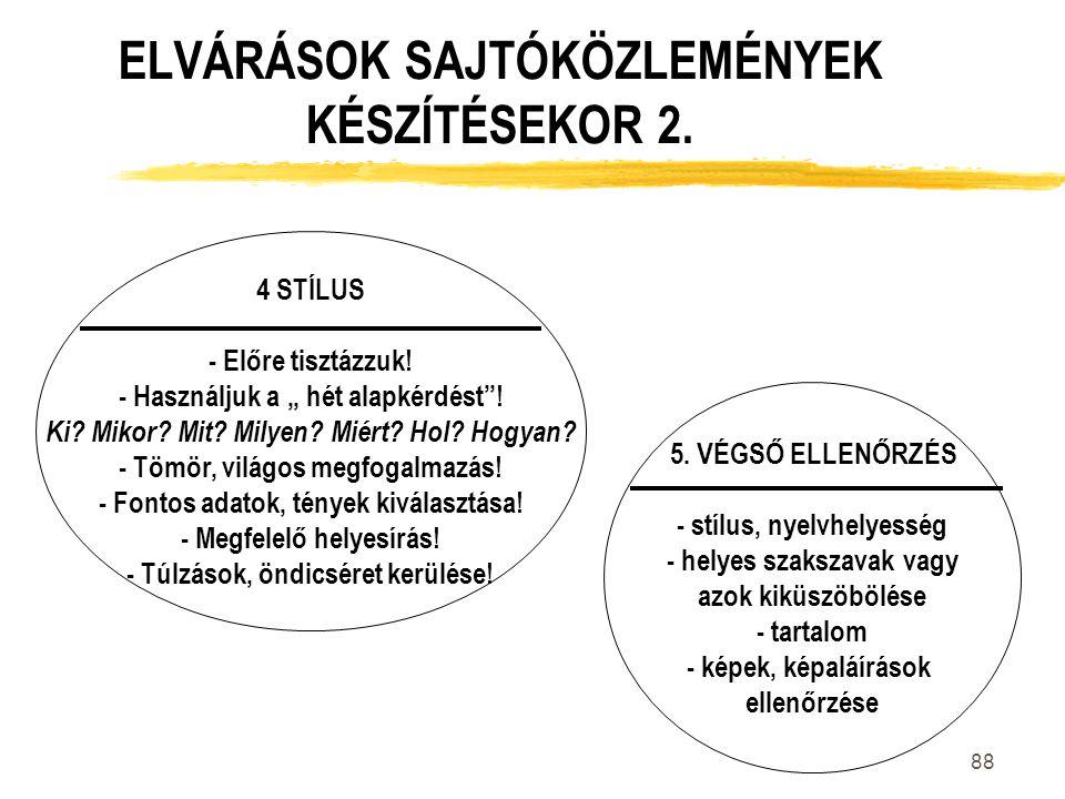 ELVÁRÁSOK SAJTÓKÖZLEMÉNYEK KÉSZÍTÉSEKOR 2.