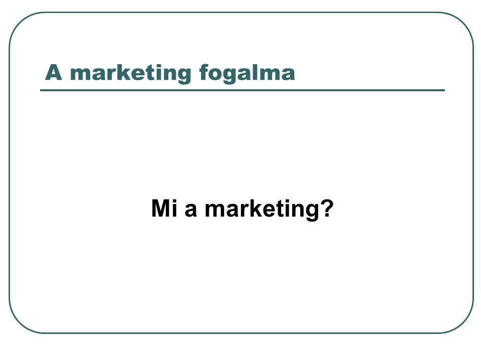 A marketing fogalma Mi a marketing