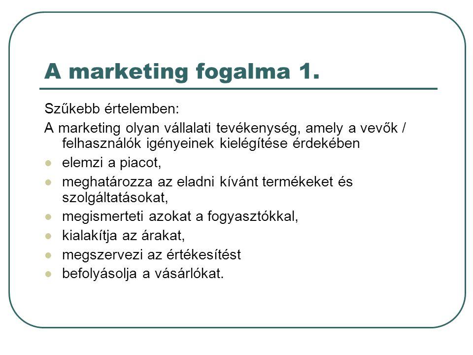 A marketing fogalma 1. Szűkebb értelemben: