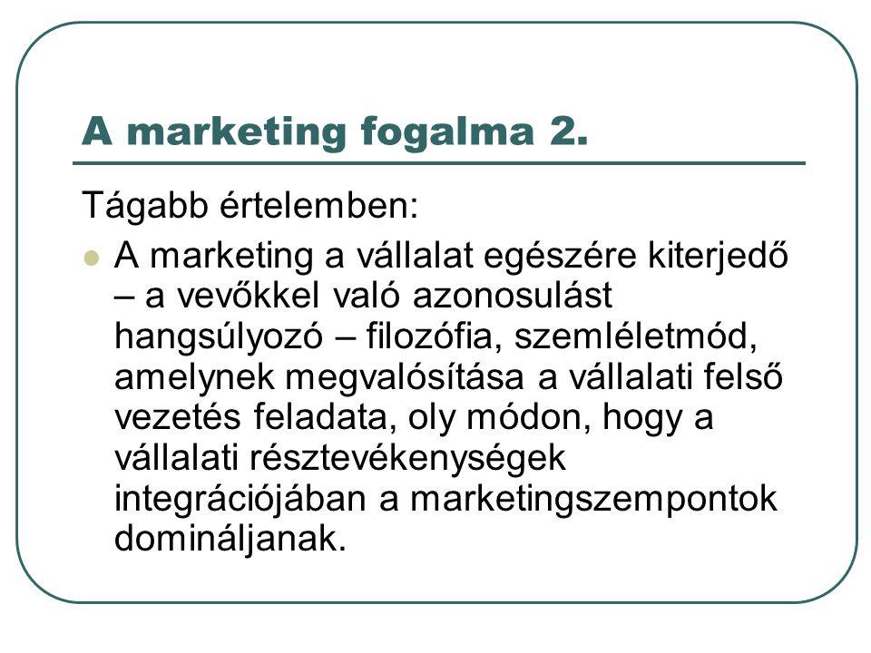 A marketing fogalma 2. Tágabb értelemben: