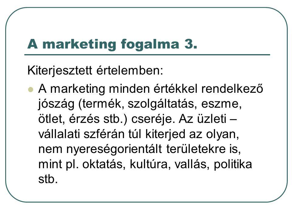 A marketing fogalma 3. Kiterjesztett értelemben: