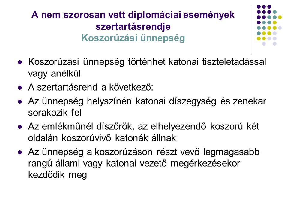 A nem szorosan vett diplomáciai események szertartásrendje Koszorúzási ünnepség