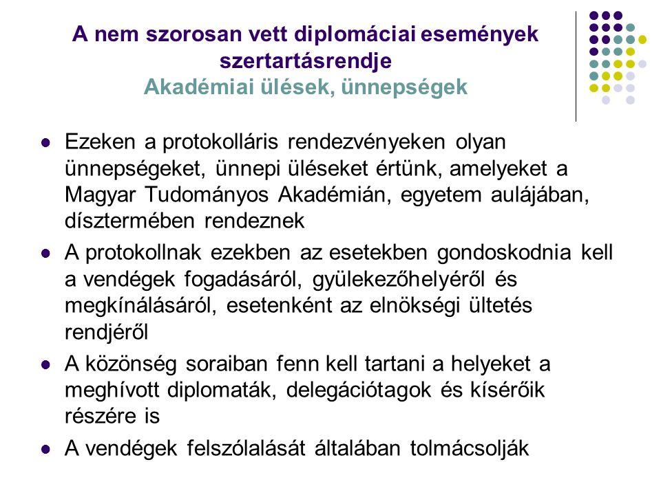A nem szorosan vett diplomáciai események szertartásrendje Akadémiai ülések, ünnepségek