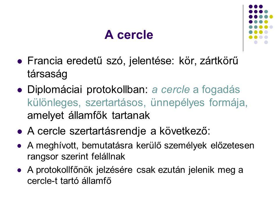 A cercle Francia eredetű szó, jelentése: kör, zártkörű társaság