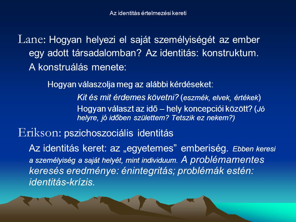 Az identitás értelmezési kereti