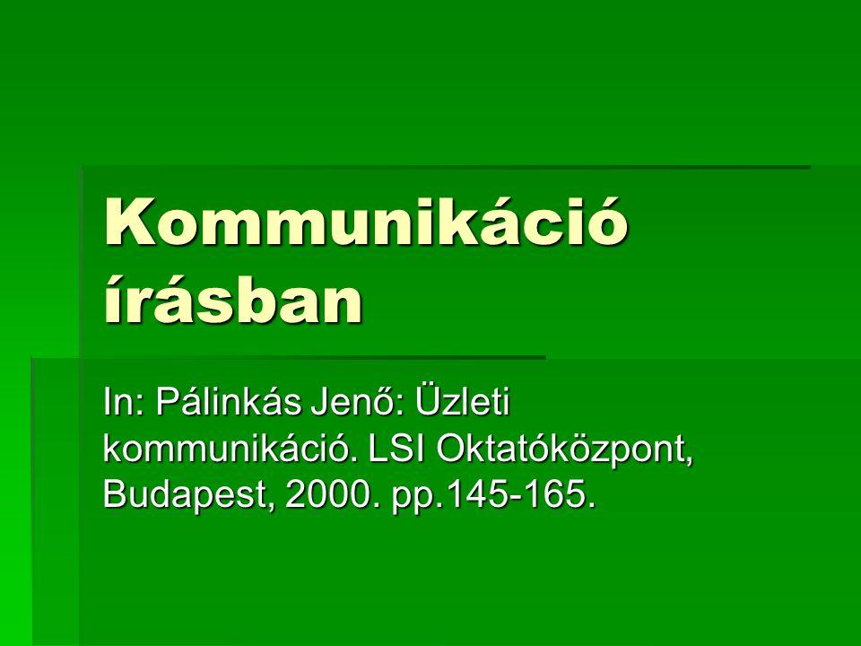 Kommunikáció írásban In: Pálinkás Jenő: Üzleti kommunikáció.