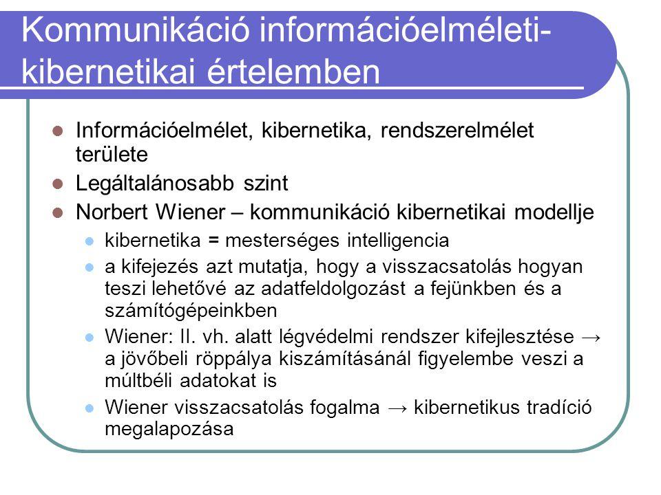 Kommunikáció információelméleti-kibernetikai értelemben