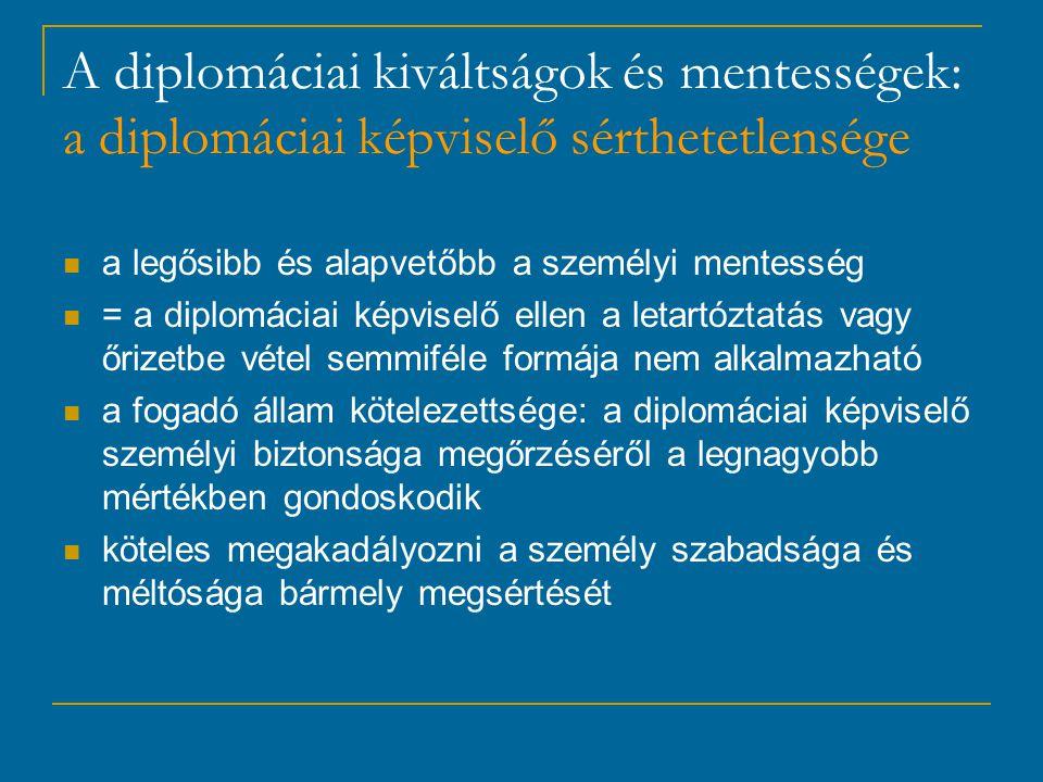 A diplomáciai kiváltságok és mentességek: a diplomáciai képviselő sérthetetlensége