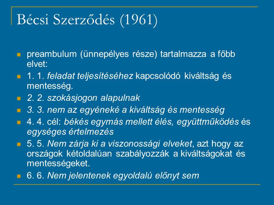 Bécsi Szerződés (1961) preambulum (ünnepélyes része) tartalmazza a főbb elvet: 1. 1. feladat teljesítéséhez kapcsolódó kiváltság és mentesség.