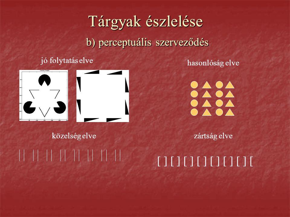 Tárgyak észlelése b) perceptuális szerveződés