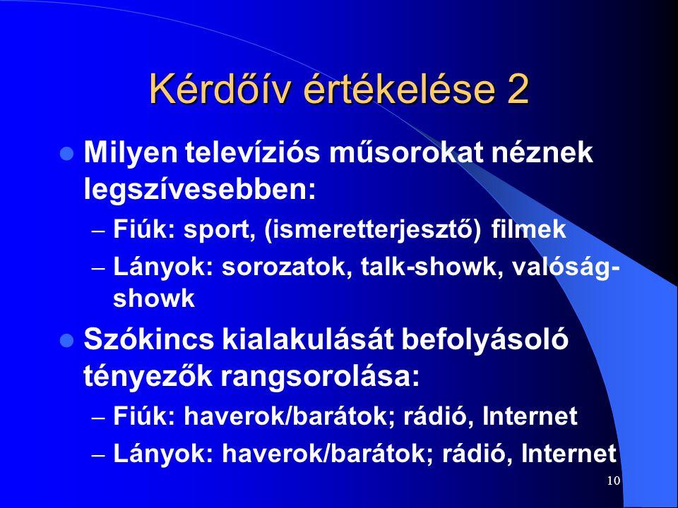 Kérdőív értékelése 2 Milyen televíziós műsorokat néznek legszívesebben: Fiúk: sport, (ismeretterjesztő) filmek.