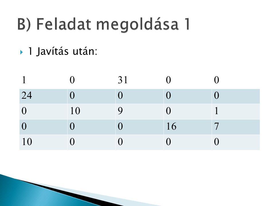 B) Feladat megoldása 1 1 31 24 10 9 16 7 1 Javítás után: