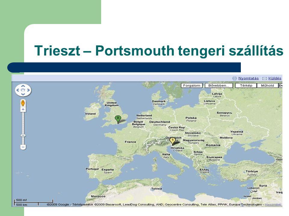 Trieszt – Portsmouth tengeri szállítás