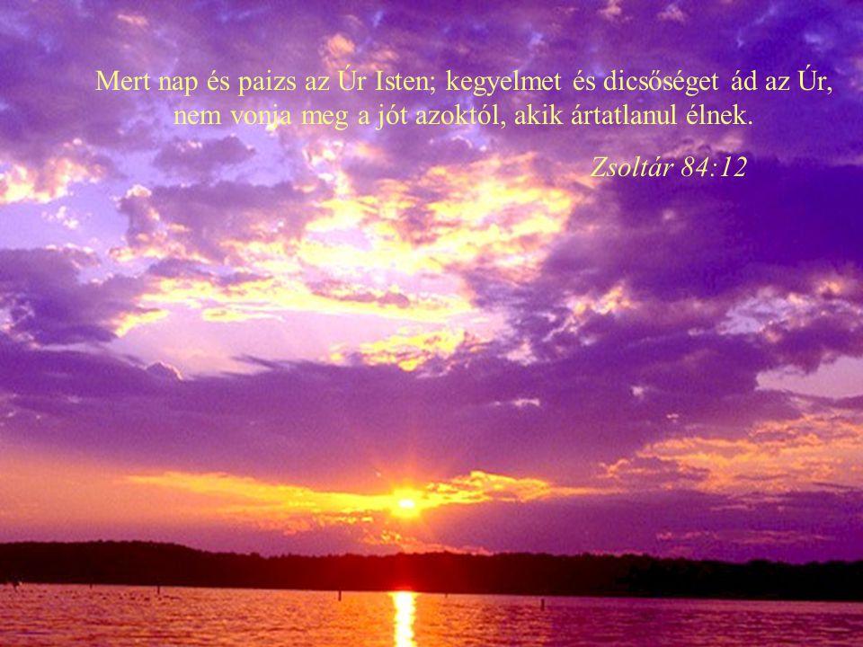 Mert nap és paizs az Úr Isten; kegyelmet és dicsőséget ád az Úr, nem vonja meg a jót azoktól, akik ártatlanul élnek.