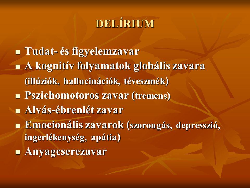 DELÍRIUM Tudat- és figyelemzavar. A kognitív folyamatok globális zavara. (illúziók, hallucinációk, téveszmék)