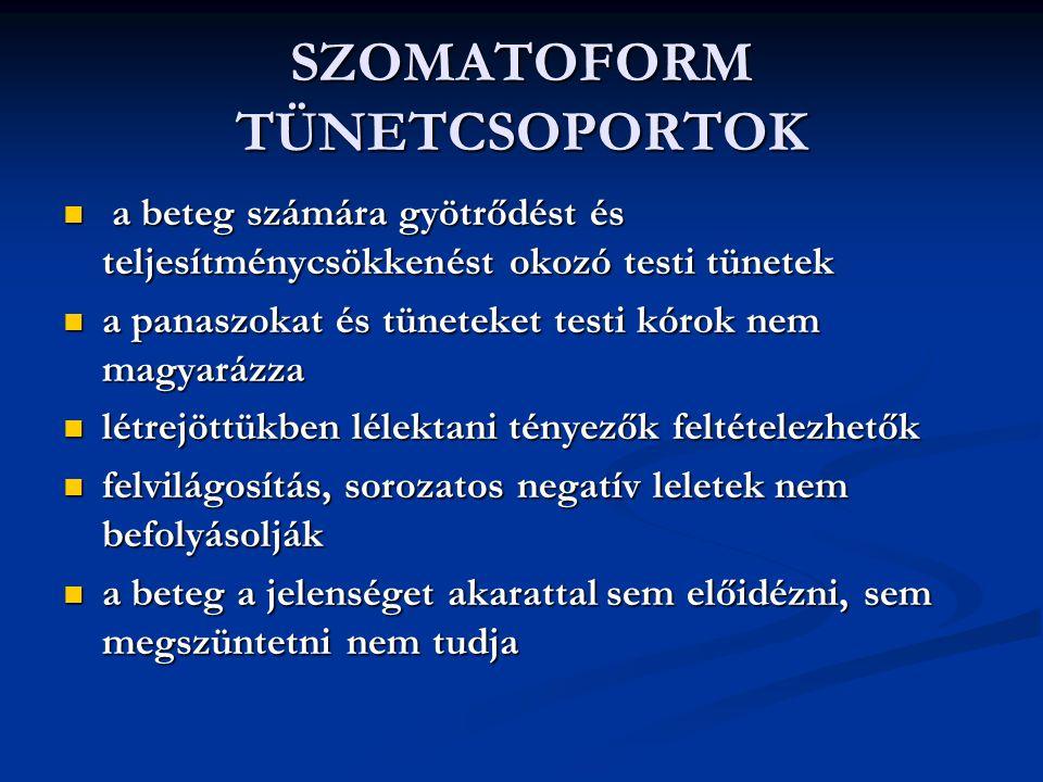 SZOMATOFORM TÜNETCSOPORTOK