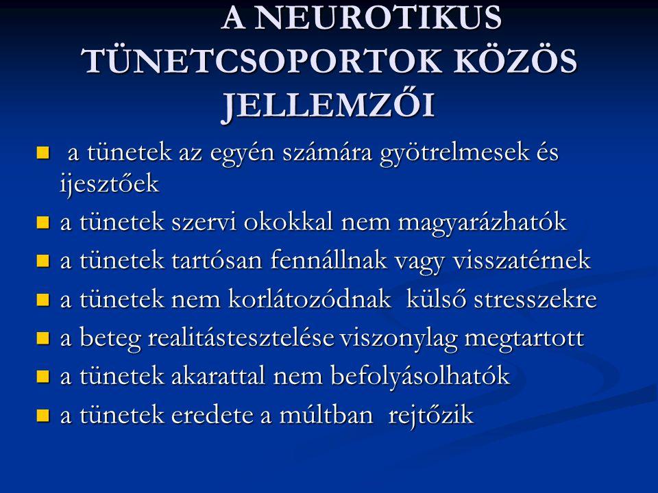 A NEUROTIKUS TÜNETCSOPORTOK KÖZÖS JELLEMZŐI